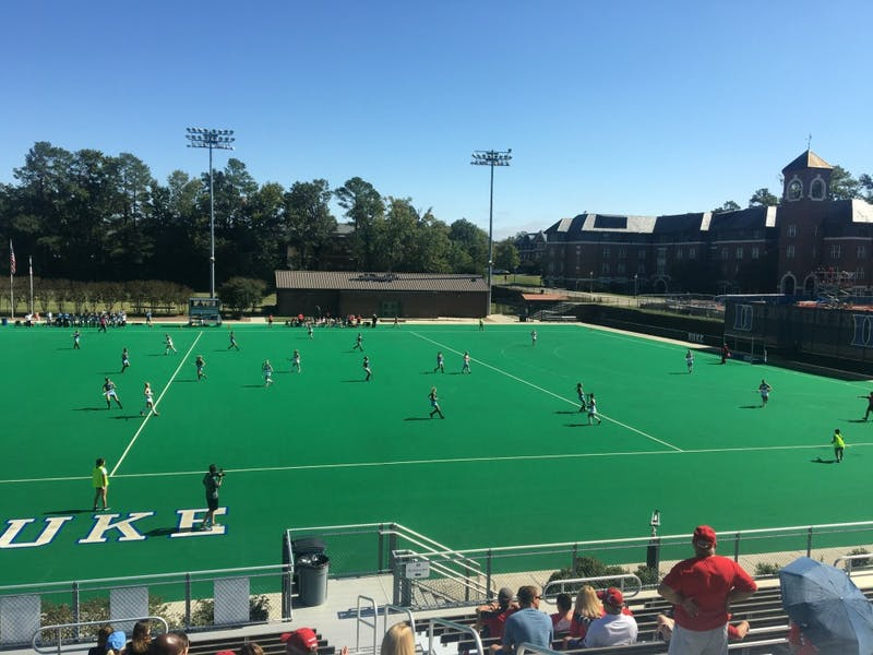 The North Carolina field hockey team competes against Louisville on Saturday at Williams Field in Durham.
