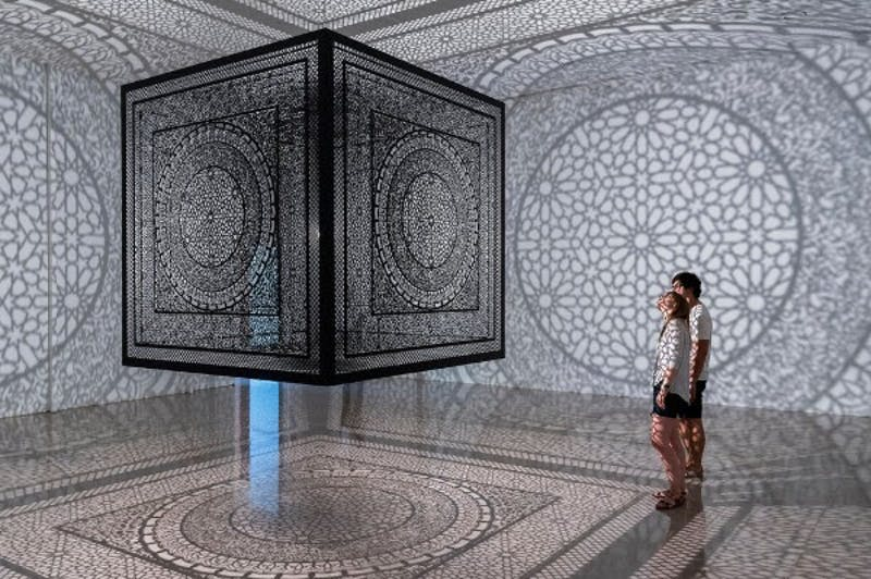 """""""Intersections"""" is an art installation by Anila Agha currently featured in the North Carolina Museum of Art's """"You Are Here"""" exhibit. Photo by Nash Baker."""