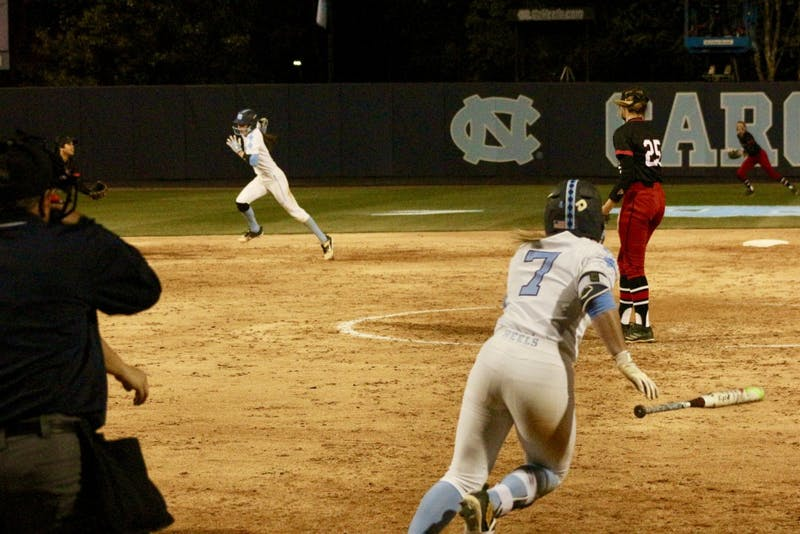 Senior Taylor Wike (7) records a hit against N.C. State on April 16 in Anderson Stadium.