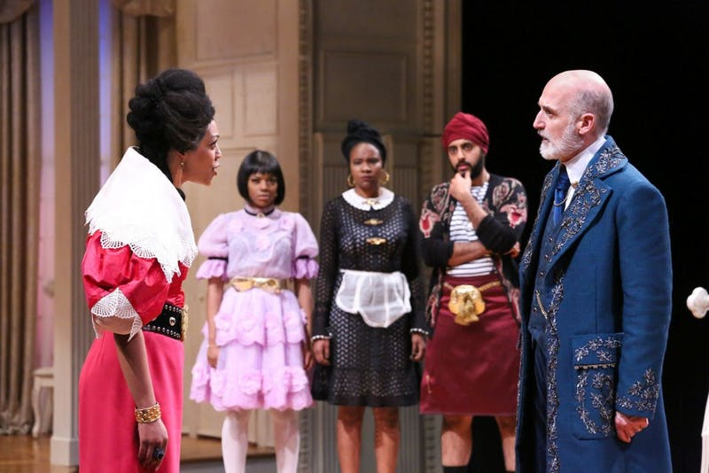 """Nemuna Ceesay as Elmire, April Mae Davis as Mariane, Shanelle Nicole Leonard as Dorine, Rishan Dhamija as Cleante and Ray Dooley as Orgonin PlayMakers Repertory Company's production of Molière's """"Tartuffe"""" adapted by David Ball and directed by Saheem Ali. Photo by HuthPhoto."""