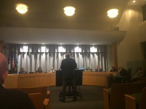 Planning Director Ben Hitchings speaks at Wednesday's town council meeting.