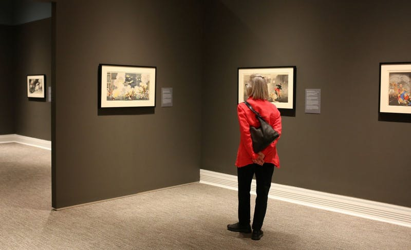 """Flash of Light, Fog of War: Japanese Military Prints, 1894-1905"" will be on display at the Ackland Art Museum until Jan. 7. Photo by SP Murray, courtesy of the Ackland Art Museum."