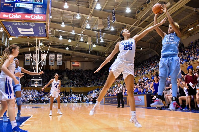 Guard Paris Kea (22) shoots against Duke on Feb. 25 in Cameron Indoor Stadium.