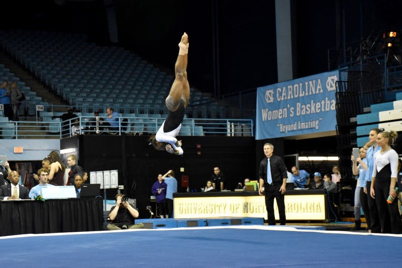 Khazia Hislop performs her floor routine during a Jan. 19 meet against Temple in Carmichael Arena.