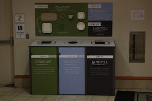 Sustainability is a large part of Carolina Dining Services' mission, as they provide trash, multiple recycling and and compost disposal locations in their dining halls.