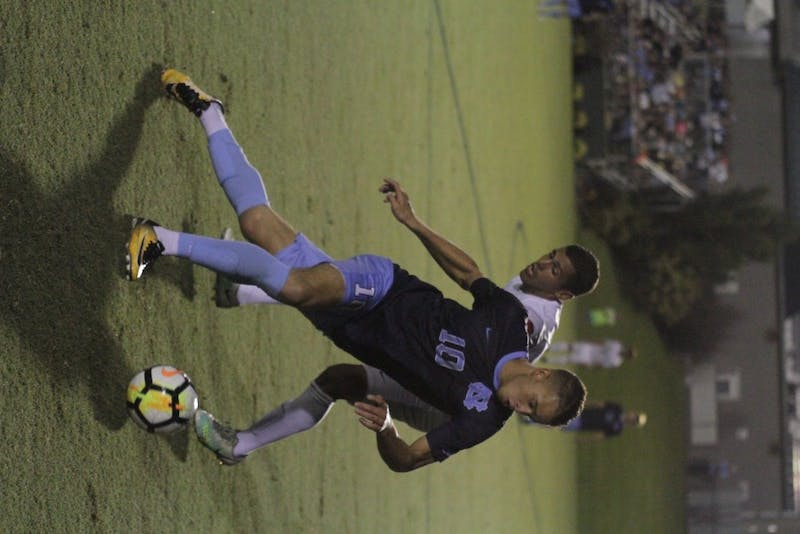 Zach Wright (10) advances the ball against Wake Forest in an Oct. 6 match.