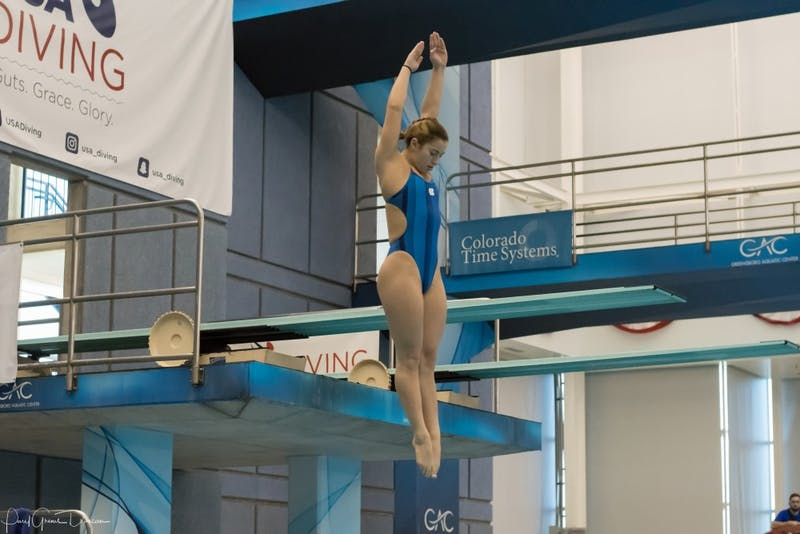 Diver Maria Lohman competes in the 2017 USA Diving Winter National Championships in Greensboro in December. Photo courtesy of Abel Sánchez.