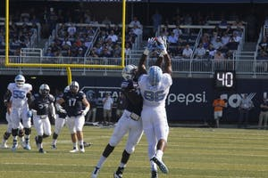 North Carolina tight end Carl Tucker (86) makes a catch during Saturday's game against Old Dominion in Norfolk, Va.