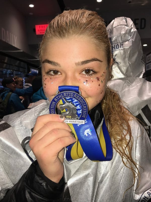 UNC student Alex Proca ran in the Boston Marathon on Monday, April 16, 2018. Photo courtesy of Alex Proca.