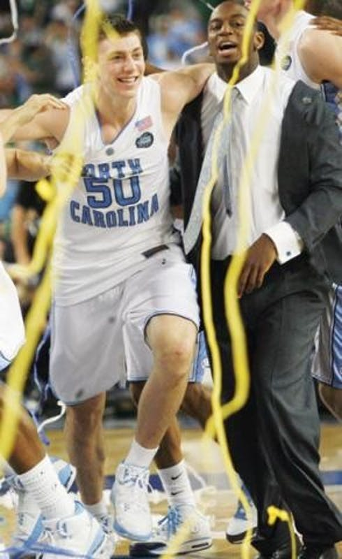 Tyler Hansbrough celebrates after winning the 2009 national championship.
