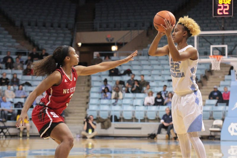 Guard Paris Kea (22) looks to pass against N.C. State on Jan. 18 in Carmichael Arena.