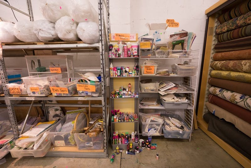 Scraps of fabric, paint, tape, and other oddities fill the warehouse that is The Scrap Exchange in Durham.