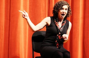 "Izzy Francke performs in a 2014 Company Carolina production of ""The Vagina Monologues."" Photo by Aisha Anwar."