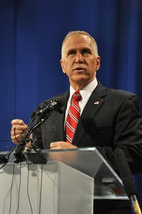 Sen. Thom Tillis, R-NC, debating former Sen. Kay Hagan, D-NC, on Oct. 7, 2014.