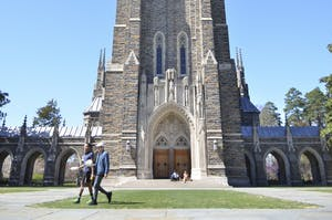 The Duke University Chapel on Duke's West Campus serves as a symbol of the university.