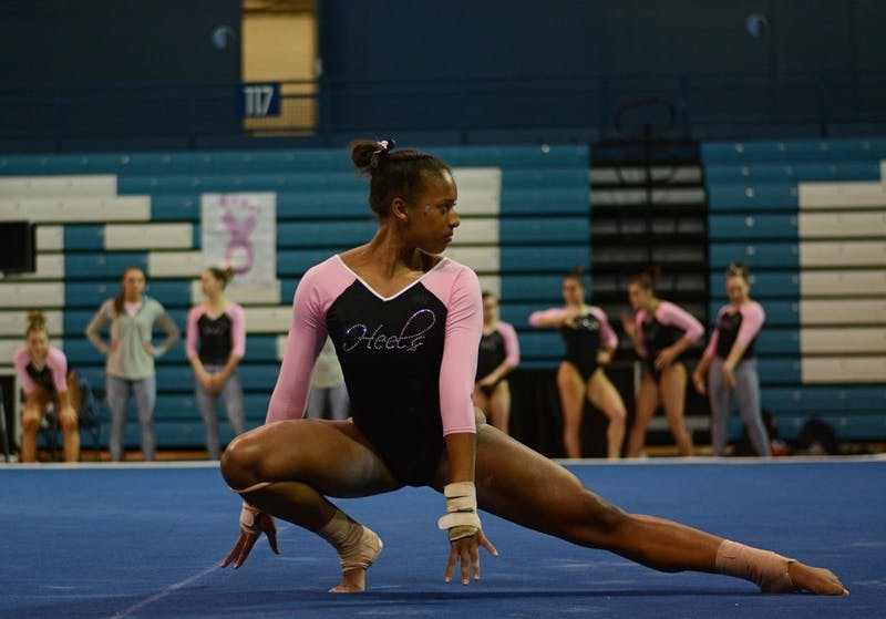 Khazia Hislop performs a floor routine in February 2017 in Carmichael Arena.