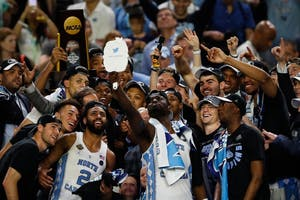 The North Carolina men's basketball team takes a team selfie after its national championship win over Gonzaga in April.