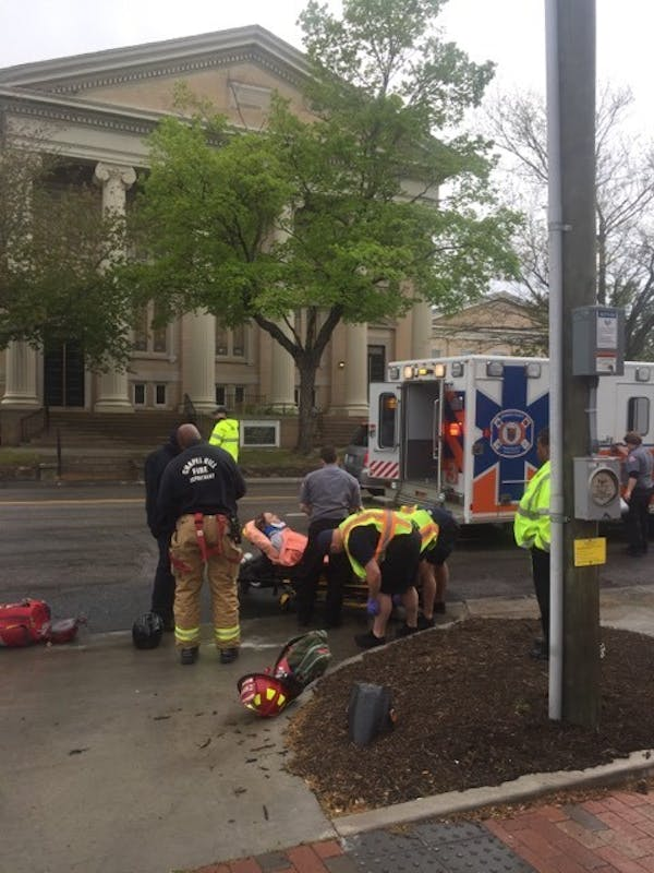 A female University student was hit by a car on Columbia Street by Top of the Hill. She was taken to the hospital at approximately 1:56 p.m.