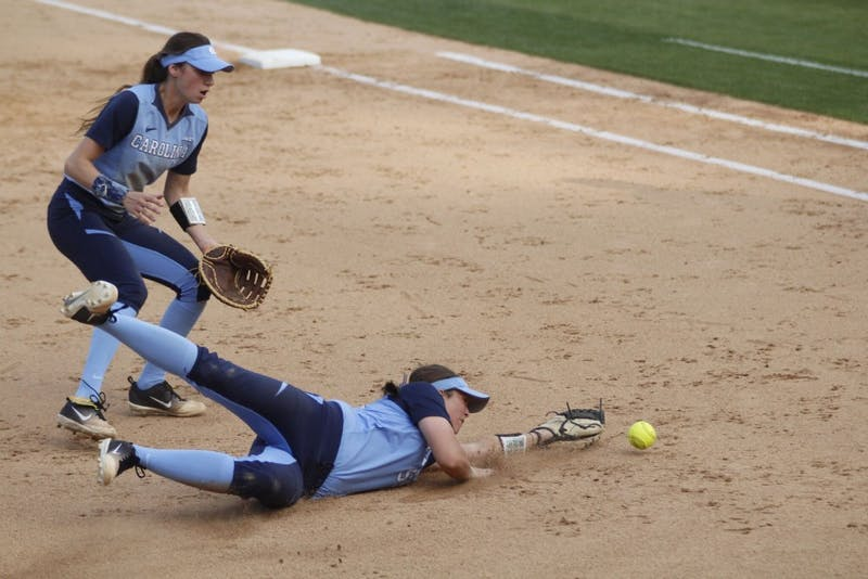 Leah Murray (4) and Megan Dray (55) run for a ground ball against ECU on April 18 in Anderson Stadium.