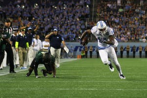 Former North Carolina wide receiver Quinshad Davis (14) runs upfield against Baylor in the 2015 Russell Athletic Bowl in Orlando, Fla.