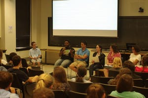 Dominique Brodie speaks about Charlottesville and Silent Sam in Gardner Hall as part of a panel hosted by the UNC Young Democrats Wednesday evening.