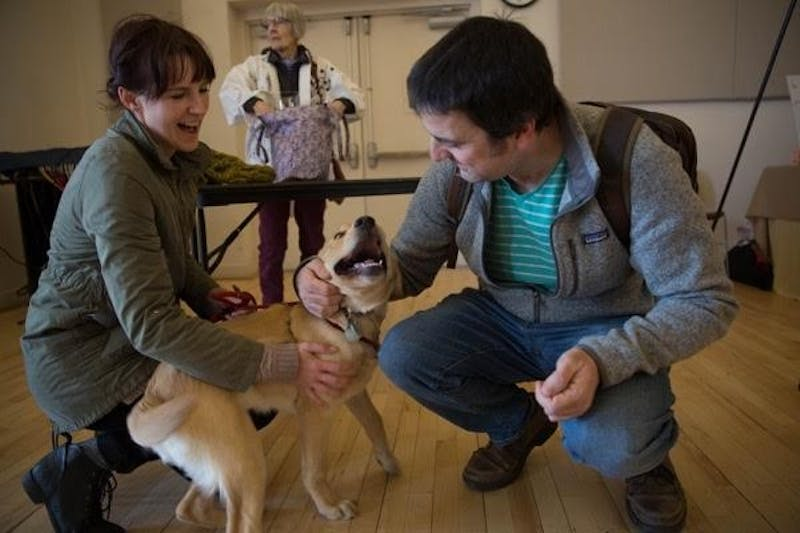 A puppy plays with its trainer and a friend at the Eyes Ears Nose and Paws graduation ceremony in Carrboro, NC on March 3, 2018.