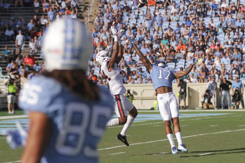 Wide receiver Anthony Ratliff Williams (17) reaches back to try and break up what eventually became a Virginia interception on Saturday.
