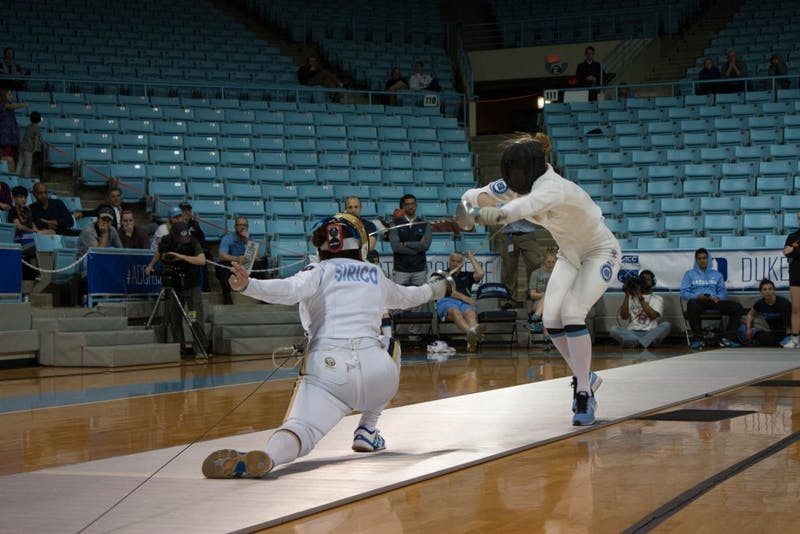 Notre Dame's Amanda Sirico defeated UNC's Georgina Summers, 15-12, in the 2018 ACC individual women's epee title match on Feb. 24 in Carmichael Arena.