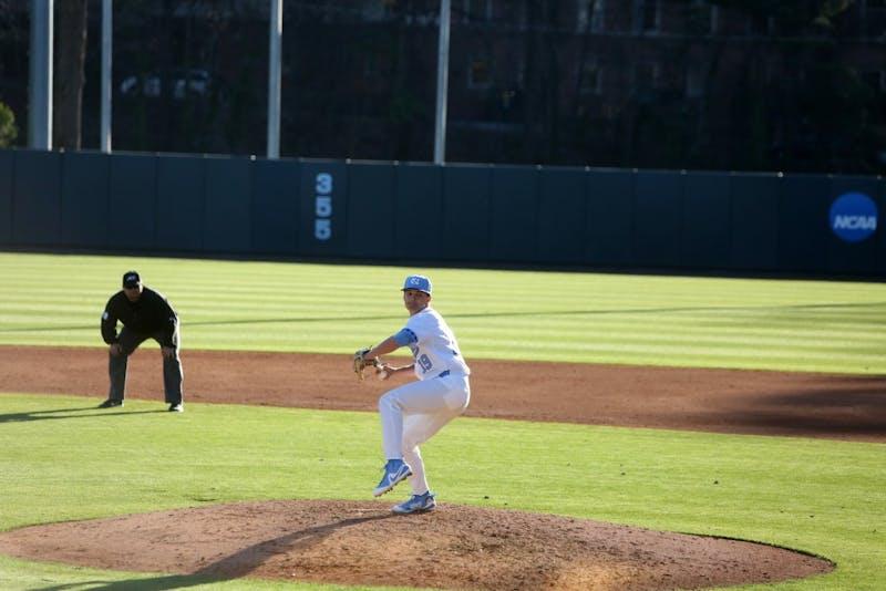 Senior Brett Daniels (19) pitches against High Point on Feb. 27 at Boshamer Stadium.