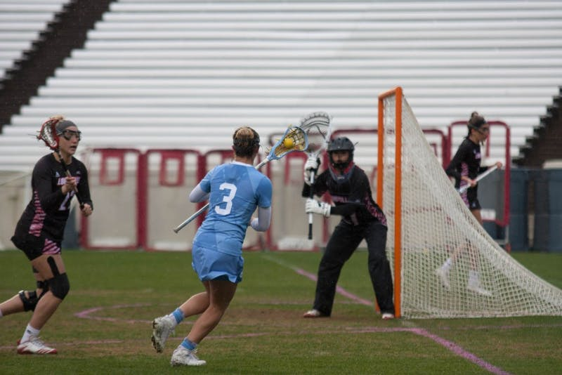 First year attacker Jamie Ortega (3) moves towards the goal against Louisville on April 7 in Kenan Stadium.