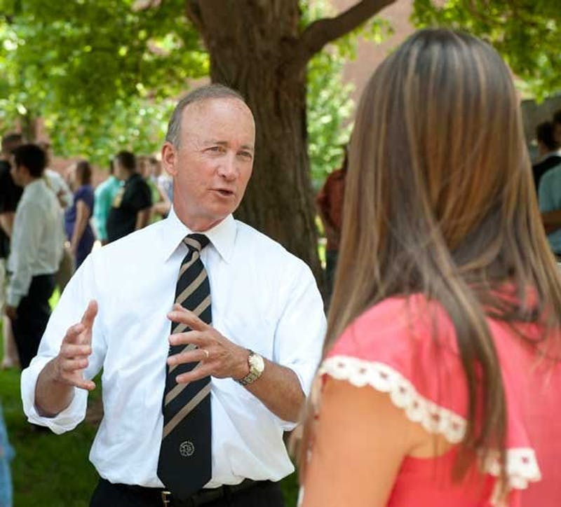 Purdue University President Mitch Daniels talking to students on the Indiana campus. Photo courtesy of Purdue University.