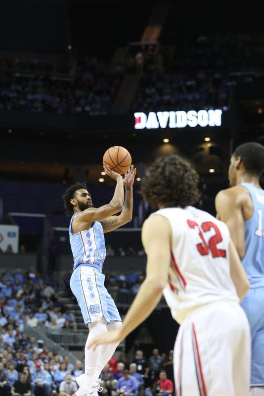 Guard Joel Berry II (2) takes a 3-pointer against Davidson on Friday at the Spectrum Center in Charlotte.