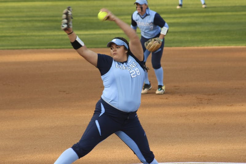 Sophomore Brittany Pickett (28) dominated Longwood's  batters with a total of 7 strikeouts during their match on Tuesday in Anderson Stadium.