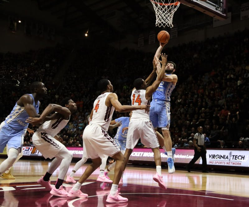 Forward Luke Maye (32) takes a jump hook against Virginia Tech on Jan. 22 at Cassell Coliseum in Blacksburg, Va.