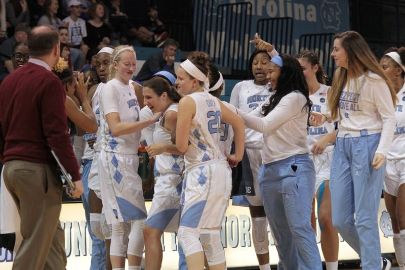 The North Carolina women's basketball team celebrates en route to its fifth straight win.