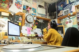 Sophomore psychology and statistics major Joanna Zhang works as a student DJ at UNC's WXYC.
