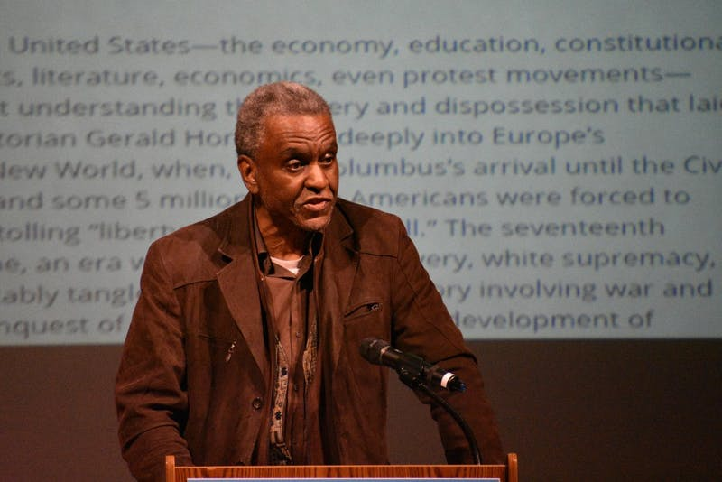 """Dr. Gerald C. Horne, J.D., Ph.D., delivers his lecture, """"Why Black Lives Do Not Matter: Re-thinking the Origins of the USA""""."""