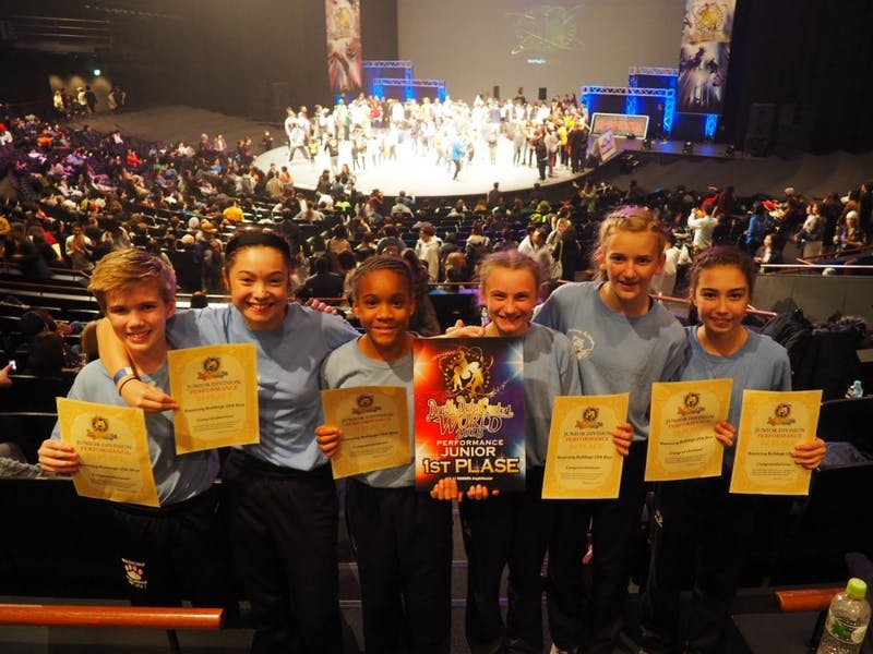 12 and under group that won first in performance category of 12-and-under division. Left to right: Noah Hirsch, Elena Oh, Sophia Berry, Ava Winslow, Lilly James, and Addie Gilner. Photo courtesy of Megan Shohfi.