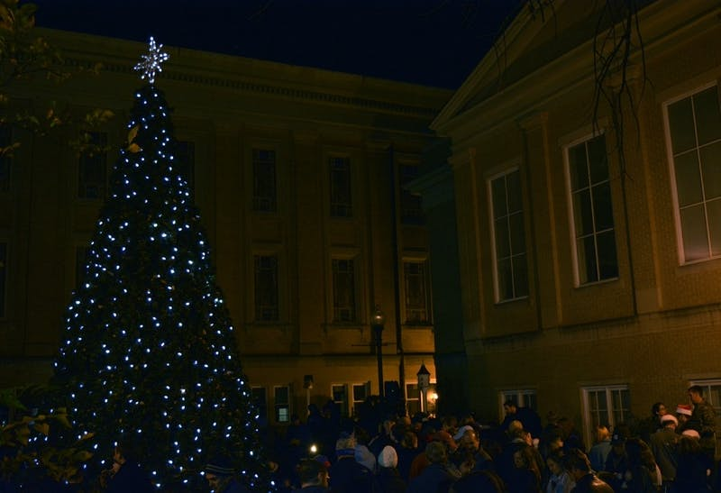 A Christmas tree lighting ceremony took place on Nov. 27, 2016 at the Univeristy Baptist Church's Memorial garden in Chapel Hill.