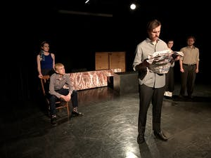 """The cast of Company Carolina's """"A View from the Bridge"""" rehearses in Bingham Hall."""