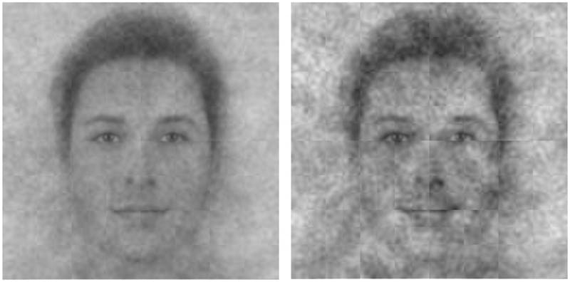 Aggregate images of what young participants (left panel) and old participants (right panel) think God looks like. Photo courtesy of Joshua Conrad Jackson.