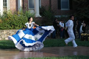 El Pueblo Salvadoreño performs a traditional Salvadorian dance at Carnaval at Alderman Quad on Sunday Oct. 15.