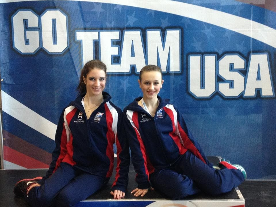 Miller and teammate in Austria where they competed for Team USA at the Junior Grand Prix when she was in seventh grade. Photo submitted by Whitney Miller.