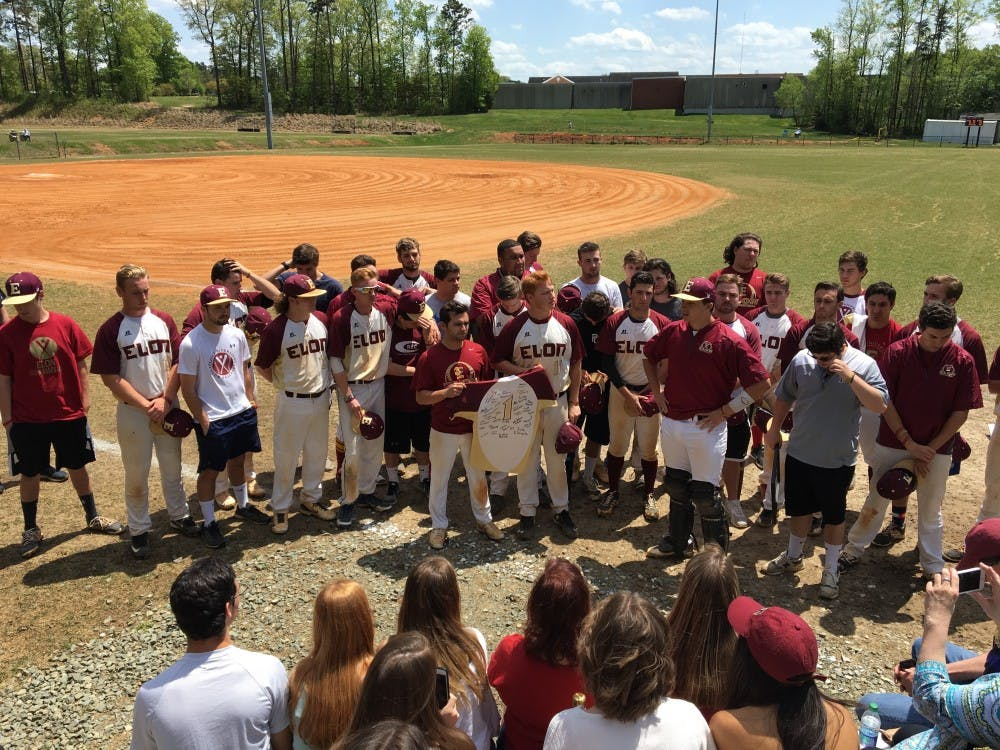 Club Baseball holds a ceremony to retire fallen teammate Breslin Wiley's number before a game against UNC on April 28.
