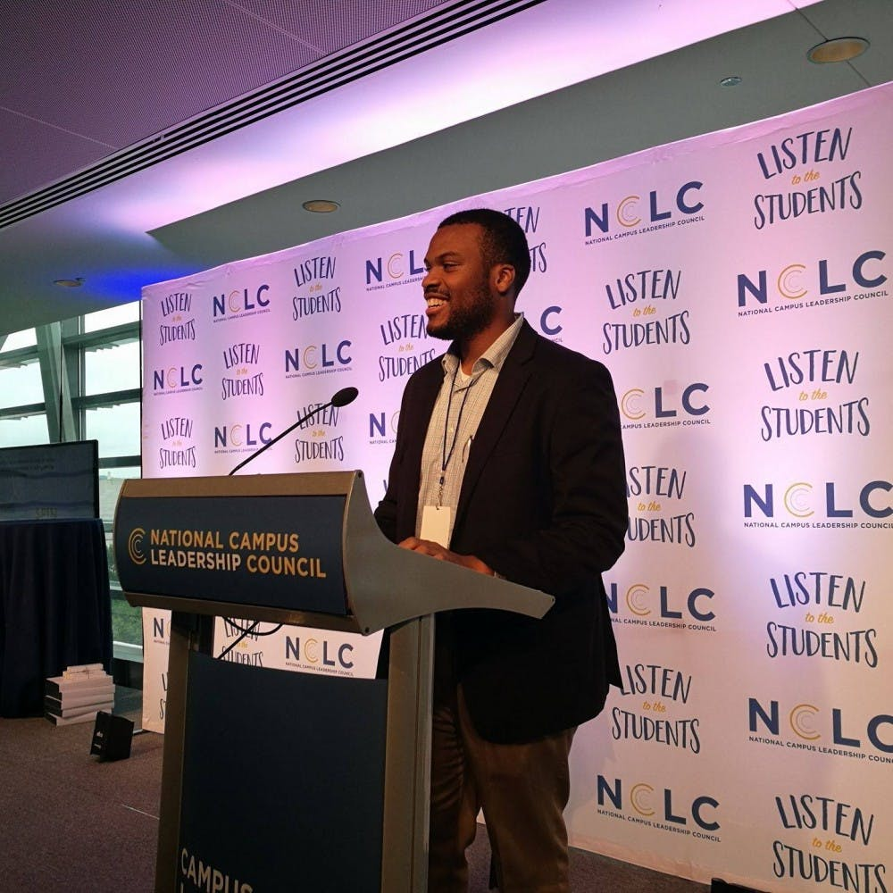 Elon Student Body President Kenneth Brown Jr. speaking at the National Campus Leadership Council in Washington, D.C. Photo Curtesy of Brown's Facebook page.