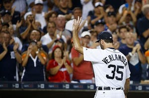 GVL / Courtesy - Rick Osentoski - USA TODAY SportsDetroit Tigers starting pitcher Justin Verlander (35) waves to the fans as he walks off the field after being relieved in the eighth inning against the Los Angeles Angels at Comerica Park on August 26, 2016.