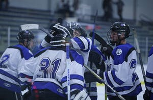GVL / Emily FryeGVSU D2 Hockey takes on Indiana University of Pennsylvania on Friday September 22, 2017.