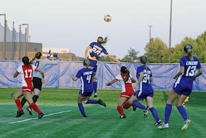 GVL / Emily FryeGabriella Mencotti puts up a header against SVSU on Friday September 22, 2017.