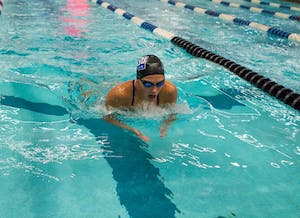 GVL/ Spencer Scarber Hannah Richard competes against teammates during the Blue and Black meet on October 7, 2017.