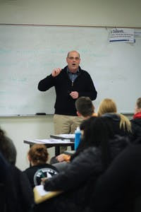 GVL / Sheila BabbittStudents listen to Jay Steffen, the Assistant Planning Director for the City of Grand Rapids, at the Grand River Corridor Planning event put on by the GVSU Planning Association on March 19th, 2018.